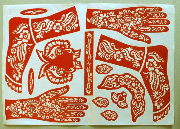 Patterns for henna Paper Used to colour women's arms Sana'a'